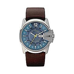 Diesel - Men's 'Master Chief' blue dial brown leather strap watch dz1399