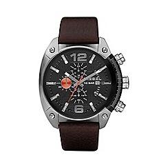 Diesel - Men's 'Overflow' black dial & leather strap watch dz4204