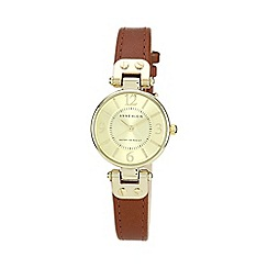 Anne Klein - Ladies brown round dial leather strap watch 10/n9442chhy