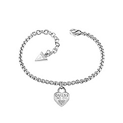 Guess - Rhodium plated 1981 heart charm bracelet ubb82104-l