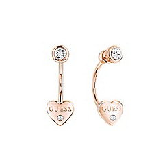 Guess - Rose gold plated heart stud earrings ube82006