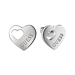 Guess - Rhodium plated engraved logo stud heart earrings ube82039