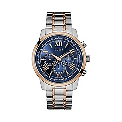Guess - Men's silver watch with gold trim, blue chronograph dial, and rose gold and silver bracelet w0379g7