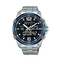 Pulsar - Mens blue dial dual display WRC sports bracelet watch pz4003x1