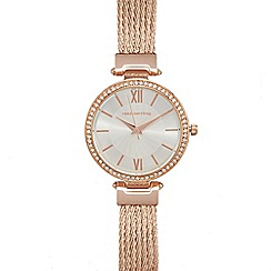 Red Herring - Ladies rose gold plated mesh cable strap watch