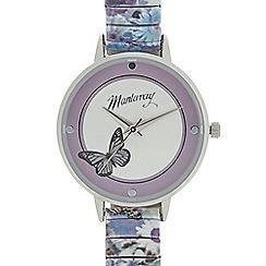 Mantaray - Ladies purple butterfly analogue watch