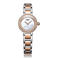 Rotary - Ladies rose gold and silver quartz bracelet watch
