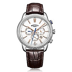 Rotary - Men's brown chronograph leather strap watch
