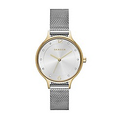Skagen - Silver ladies anita two-tone steel mesh watch