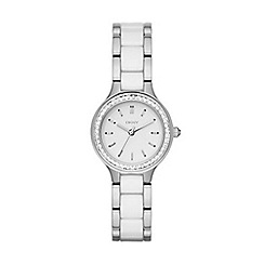 DKNY - Ladies white and steel ceramic chambers fashion watch