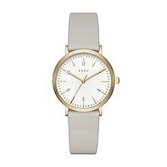 DKNY - Ladies Minetta grey leather strap watch