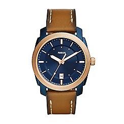 Fossil - Brown men's machine three-hand date brown leather watch