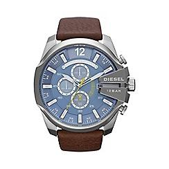 Diesel - Men's 'Mega chief' blue dial & brown leather strap watch dz4281