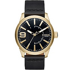 Diesel - Gents RASP gold IP case and black leather strap watch