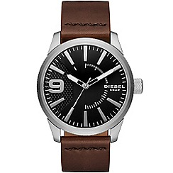 Diesel - Gents RASP stainless steel case and brown leather strap watch