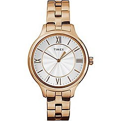 Timex - Ladies Style white dial with rose gold stainless steel bracelet watch