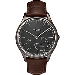 Timex - Mens IQ+ Activity black dial with brown leather strap watch