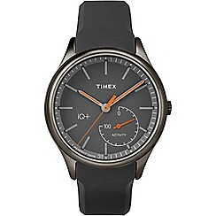 Timex - Mens IQ+ Activity black dial with black silicone strap watch