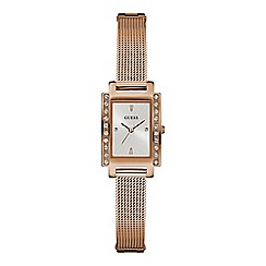 Guess - Ladies rose gold rectangular case watch with silver sunray dial