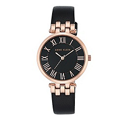 Anne Klein - Women's watch with rose gold case and black leather strap