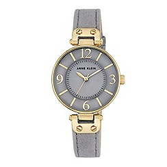 Anne Klein - Women's watch with gold case and grey leather strap