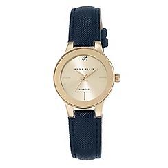 Anne Klein - Women's watch with gold case, diamond and navy polyurethane strap