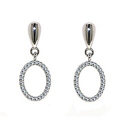 Finesse - Rhodium oval crystal drop earrings