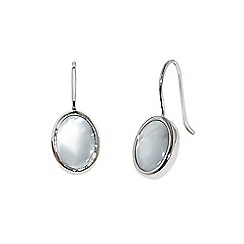 Finesse - Rhodium oval mother of pearl drop earrings