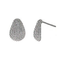 Finesse - Rhodium textured pear shaped earrings