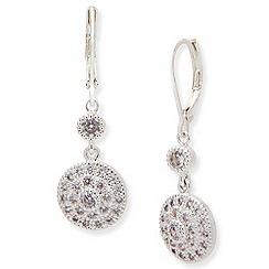 Anne Klein - Silver tone cubic zirconia leverback earrings