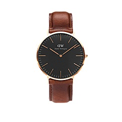 Daniel Wellington - Classic Black St Mawes with brown leather strap and rose gold case watch