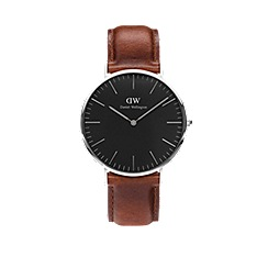 Daniel Wellington - Classic Black St Mawes with brown leather strap and silver case watch