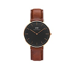 Daniel Wellington - Classic Black 36mm St Mawes with brown leather strap and rose gold case watch