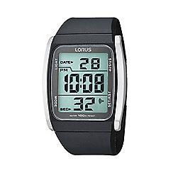 Lorus - Men's grey digital dial silicone strap watch r2303hx9