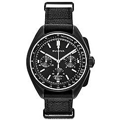 Bulova - Men's black 'moon' chronograph leather strap watch