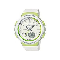 Casio - Ladies white baby g with step counter and alarm watch bgs-100-7a2er
