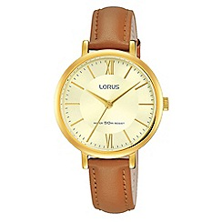 Lorus - Ladies brown strap dress watch with a champagne dial