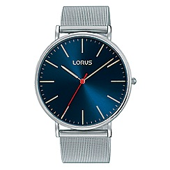 Lorus - Gents large sunray blue dial brown leather strap dress watch