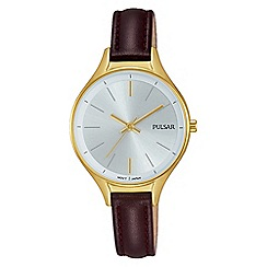 Pulsar - Ladies gold plated case, brown leather strap watch