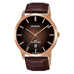Pulsar - Gents rose gold plated case & brown leather strap with brown gradation dial
