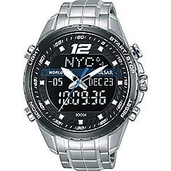 Pulsar - Men's digital analogue silver wolrd time watch