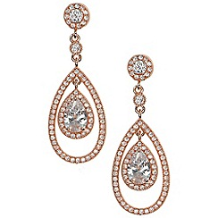 Anne Klein - Rose gold 'Social' pave orbital drop earrings