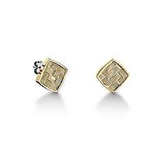 Tommy Hilfiger - Ladies stainless steel gold  IP basket weave earrings