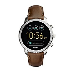 Fossil - Explorist brown leather strap smart watch