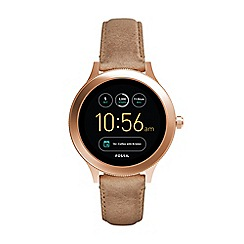 Fossil - Venture light brown leather strap smart watch