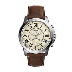 Fossil - Grant brown leather strap hybrid smart watch