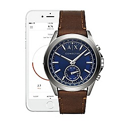 Armani Exchange - Connected brown leather strap hybrid smart watch