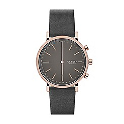 Skagen - Hald matte grey leather strap hybrid smart watch