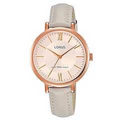 Lorus - Ladies Rose gold soft pink dial grey leather strap dress watch