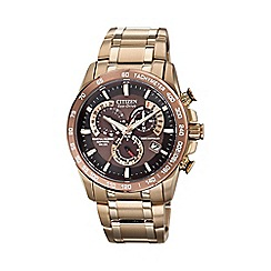 Citizen - Men's perpetual chronograph gold watch AT4106-52X